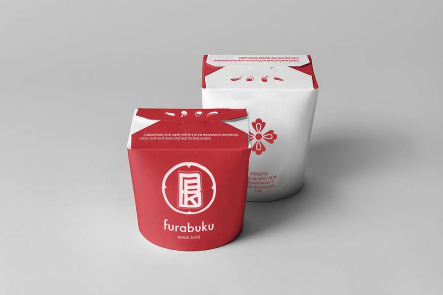 "mock up de packaging de comida para llevar de la marca ""Furabuku"""