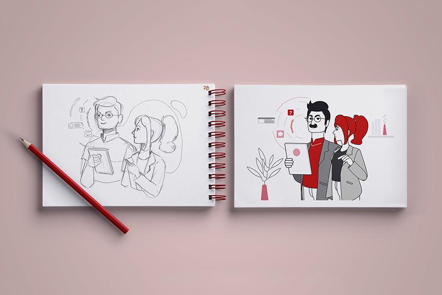"""mock up de una libreta con uno de los bocetos e ilustraciones finales, a modo de comparación, de """"Las Fases del Cambio"""