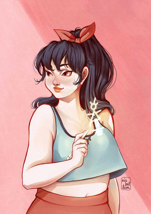 """Ilustración de """"La Hechicera Novata"""". Una chica con camiseta de manga sisa corta, de color azul celeste, y pantalones rojo coral. Tiene el pelo negro y largo sujetado por un lazo corto. Esta dibujando una figura brillante en el aire con un lápiz mágico mientras mira a su derecha."""