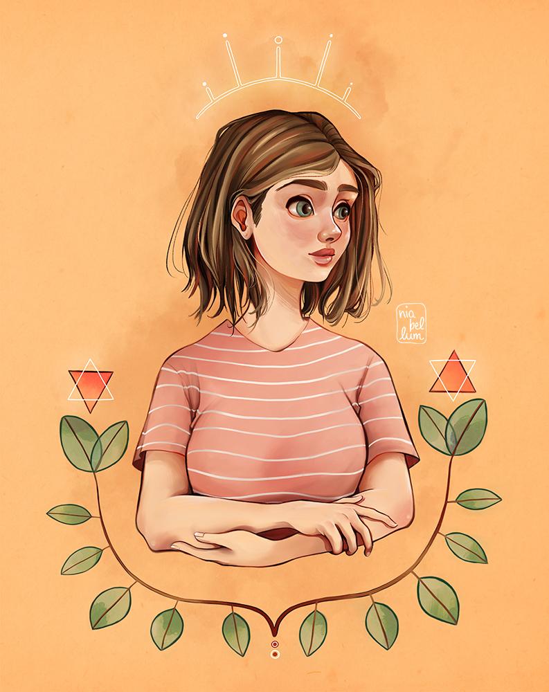 """Ilustración """"La Estampa de Grethel"""" Es una chica con los brazos cruzados, de pelo castaño con un corte Bob y ojos verdes. Tiene una aureola con 5 cuernos, y está rodeada por dos ramas que nacen del centro de la imagen. En el final de cada rama hay dos triángulos, cada uno está compuesto por uno naranja y otro es una línea blanca."""