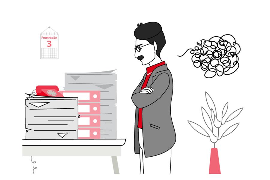"""ilustración número 2 de """"Las Fases del Cambio. Frustración. Se ve a un hombre, de brazos cruzados, frustrado y enfadado con una pila de papeles y carpetas que están sobre su mesa."""
