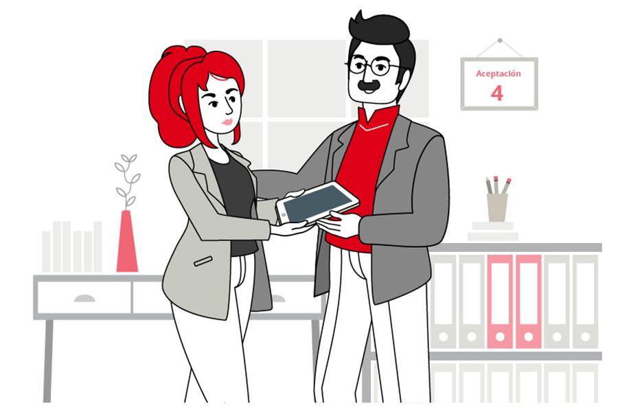 """ilustración número 4 de """"Las Fases del Cambio. Aceptación. Se ve a una mujer, vestida de americana, ofreciendo un Ipad a un hombre, vestido con una americana también, en un ambiente de oficina."""