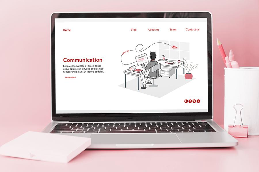 """mock up de una página web con una de las ilustraciones de """"Las Fases del Cambio"""