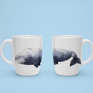 """mock up de una taza con uno de los estampados de """"Patrones del Ártico"""""""