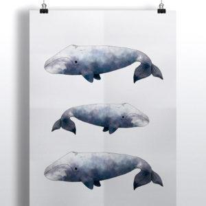 """mock up de un poster con uno de los estampados de """"Patrones del Ártico"""""""