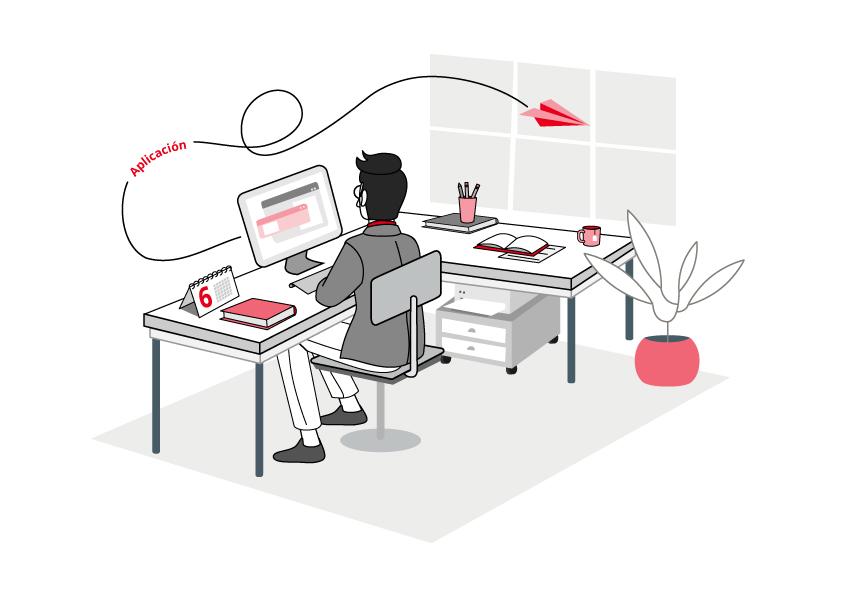 """ilustración número 6 de """"Las Fases del Cambio. Aplicación. Se ve un hombre de espaldas, sentado frente a una mesa envíando un email. Esta en una oficina con una mesa en forma de L, con una impresora, una planta en la esquina y una ventana."""